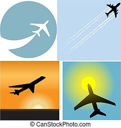 linha aérea, viagem, avião passageiro, aeroporto, ícones