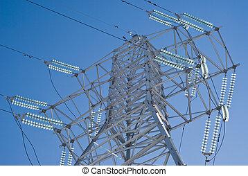 linha, alto-voltagem