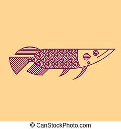 linha, arowana, arte, estilo, peixe, ilustração
