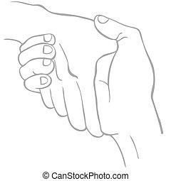 linha arte, aperto mão