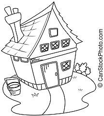 linha arte, celeiro, casa
