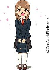 linha arte, estudante menina, uniforme