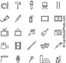 linha arte, fundo branco, ícones