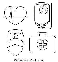 linha arte, preto branco, doação sangue, ícone, jogo