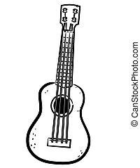 linha arte, ukulele, ilustração