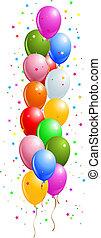 linha, balões, coloridos