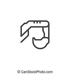 linha, balde, escavador, ícone