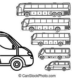 linha barra-ônibus, furgão, desenho, ícone