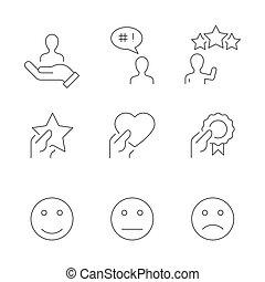linha, branca, ícones, satisfação, cliente, fundo