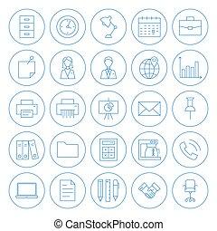 linha, círculo, escritório negócio, ícones, jogo