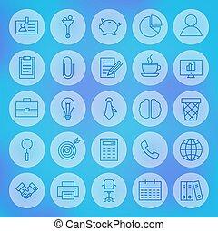 linha, círculo, negócio teia, ícones escritório, jogo