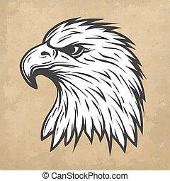 linha, cabeça, profile., arte, águia, style.