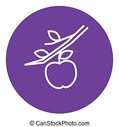 linha, colheita, maçã, icon.