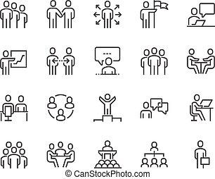 linha, comércio pessoas, ícones