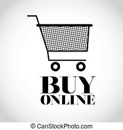 linha, compra, desenho