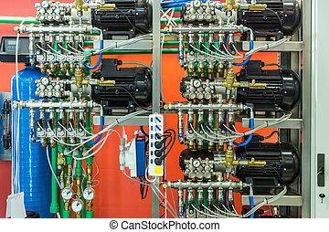 linha, compressores, pneumático, instrumento, ar