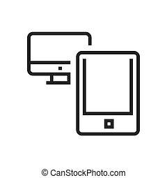linha, computador, anúncio, tabuleta, ícone