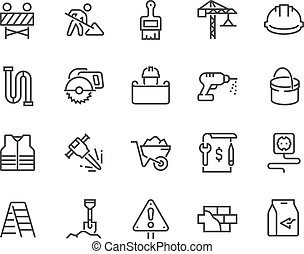 linha, construção, ícones