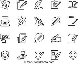 linha, copywriting, ícones