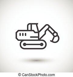 linha, crawler, escavador, ícone