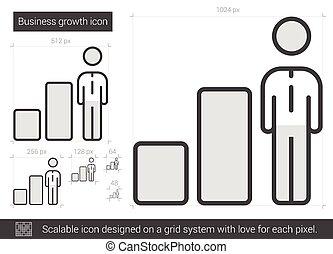 linha, crescimento, icon., negócio