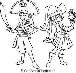linha, crianças, arte, pirata