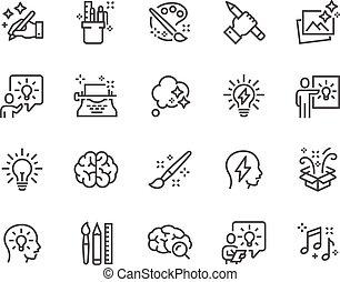 linha, criatividade, ícones