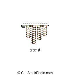 linha, crochet, ícone