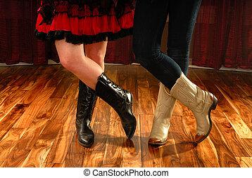linha dançar, femininas, pernas, em, carregadores vaqueiro
