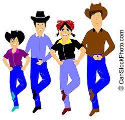 linha, dançarinos, estilo, ocidental