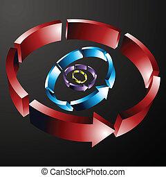 linha dashed, seta, circular