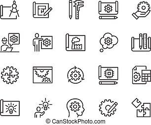 linha, desenho, engenharia, ícones