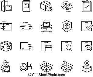 linha, despacho, ícones