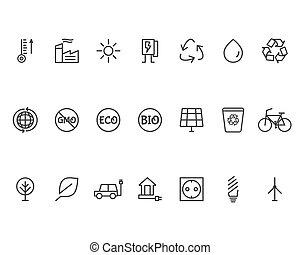 linha, ecologia, jogo, ícones