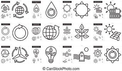 linha, ecologia, set., ícone