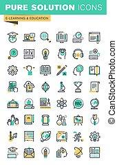 linha, educação, jogo, magra, ícones