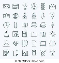linha, escritório negócio, ícones, jogo