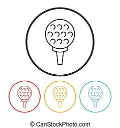 linha, golfe, ícone