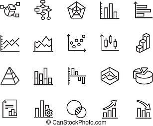 linha, gráficos, e, diagramas, ícones