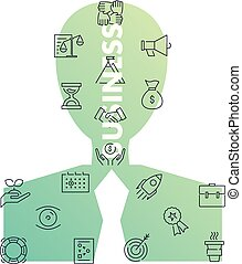 linha, homem, forma., ícones negócio