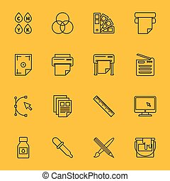 linha, imprimindo, ícones