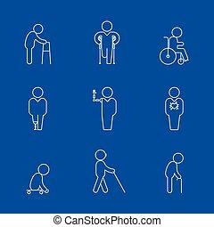 linha, incapacidade, magra, ícones