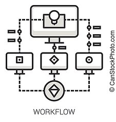linha, infographic., workflow