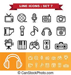 linha, jogo, 7, ícones