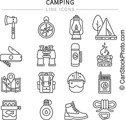 linha, jogo, acampamento, ícone