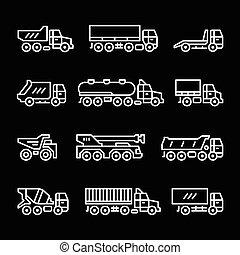 linha, jogo, caminhões, ícones