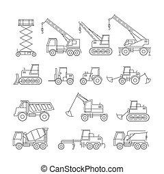 linha, jogo construção, objetos, veículos