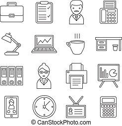 linha, jogo, escritório, ícone