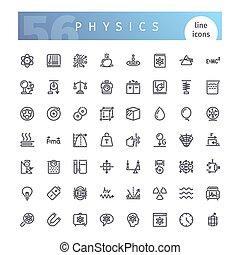 linha, jogo, física, ícones