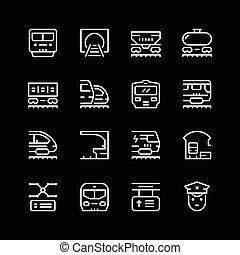 linha, jogo, ferrovia, ícones
